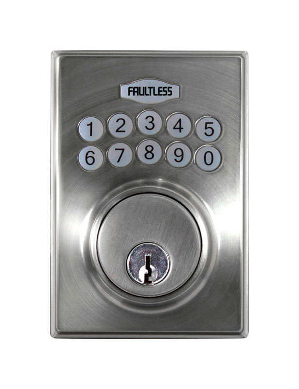 Faultless  Satin Nickel  Metal  N/A  Electronic Deadbolt