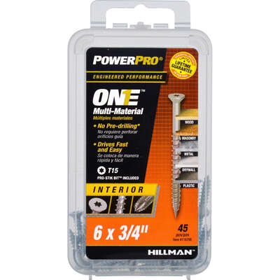 Hillman  POWERPRO ONE  No. 6   x 3/4 in. L Star  Flat Head Multi-Material Screw  45 pk
