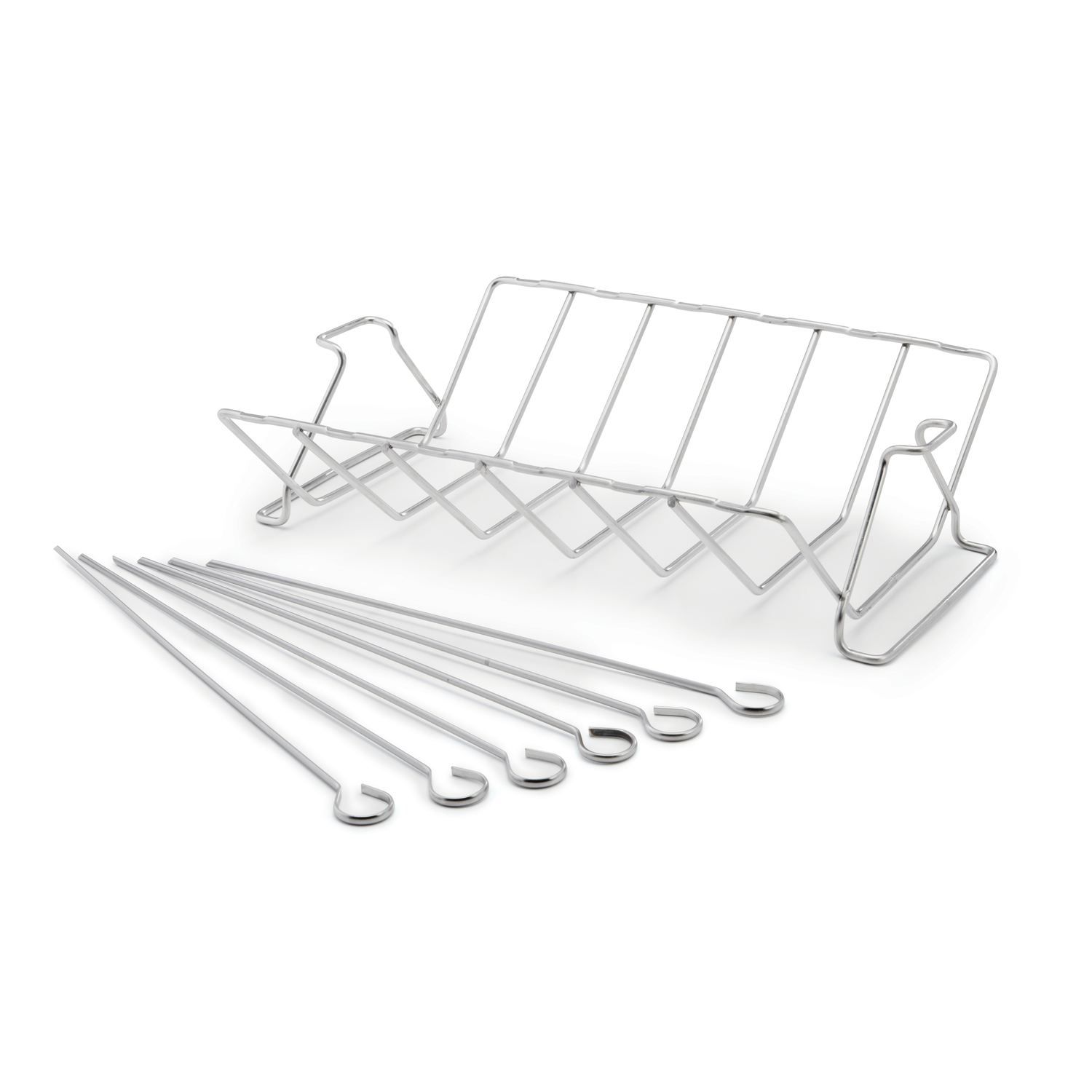 Grill Mark Grill Rack Stainless Steel Stainless steel rib and roast rack with stainless skewers, comes with a set of 6 skewers that can be used on the rack to roast kabobs off of the grill surface. Holds 6 racks of ribs. Easy to clean stainless steel.