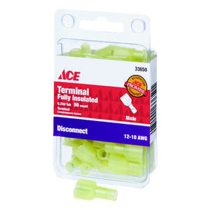 Ace  Insulated Wire  Male Disconnect  Yellow  50 pk