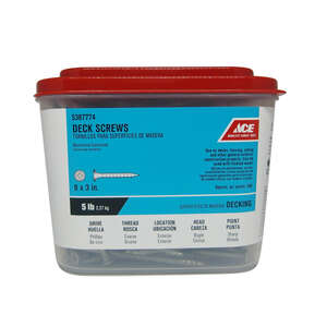 Ace  No. 9   x 3 in. L Phillips  Bugle  Galvanized  Steel  Deck Screws  5 lb. 390 each