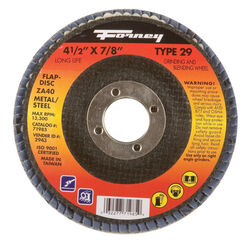 Forney  4-1/2 in. Dia. x 7/8 in.  Zirconia Aluminum Oxide  Flap Disc  40 Grit Fine  13300 rpm 1 pc.