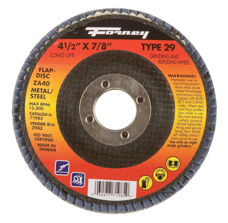 Forney  4-1/2 in. Dia. x 7/8 in. in.  Zirconia Aluminum Oxide  Flap Disc  40 Grit Fine  13300 rpm 1