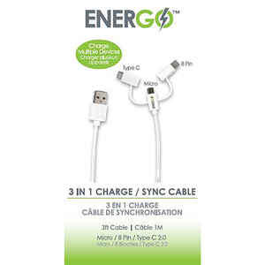 FoneGear  Energo  3 ft. L USB Charging and Sync Cable  1 pk