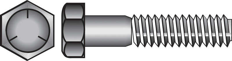 Hillman  3/8 in. Dia. x 3-1/2 in. L Heat Treated Zinc  Steel  Hex Head Cap Screw  50 pk
