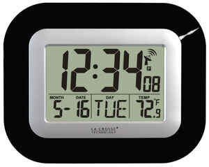 La Crosse Technology  9 in. L x 1-1/2 in. W Indoor  Digital  Atomic Wall Clock  Black/Silver  Contem