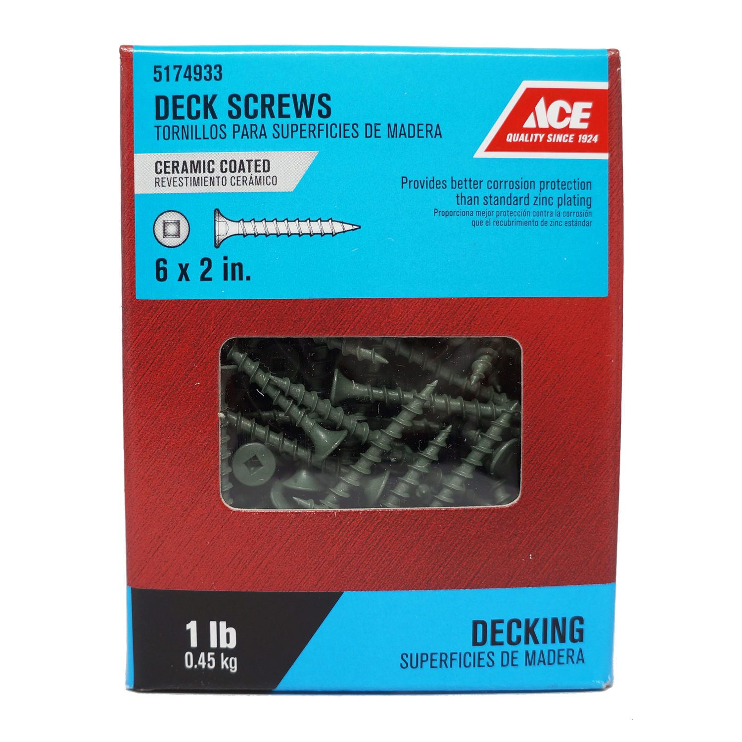 Ace  No. 6   x 2 in. L Square  Ceramic Coated  Steel  Deck Screws  1 lb. Bugle  192 each