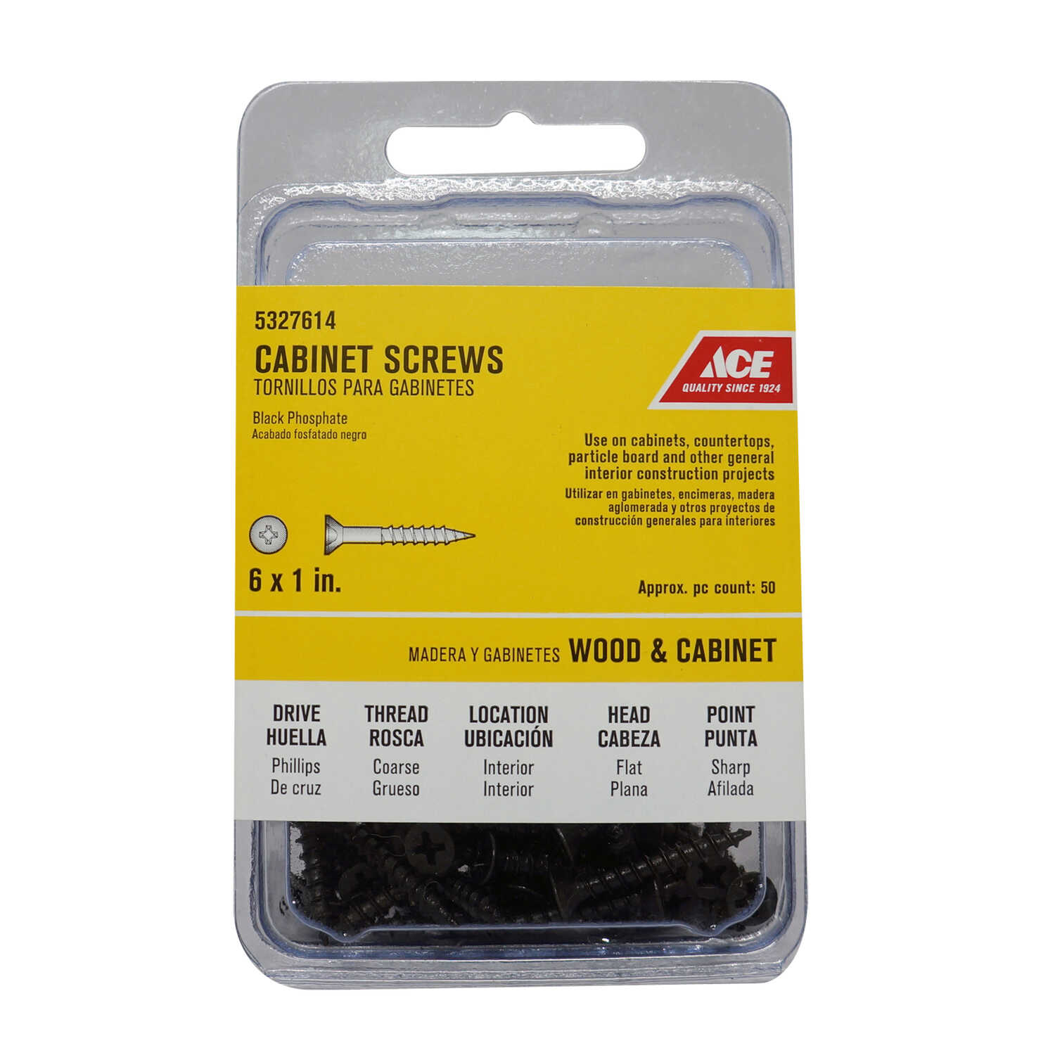Ace  No. 6   x 1 in. L Phillips  Flat  Steel  Cabinet Screws  50 pk Black Phosphate