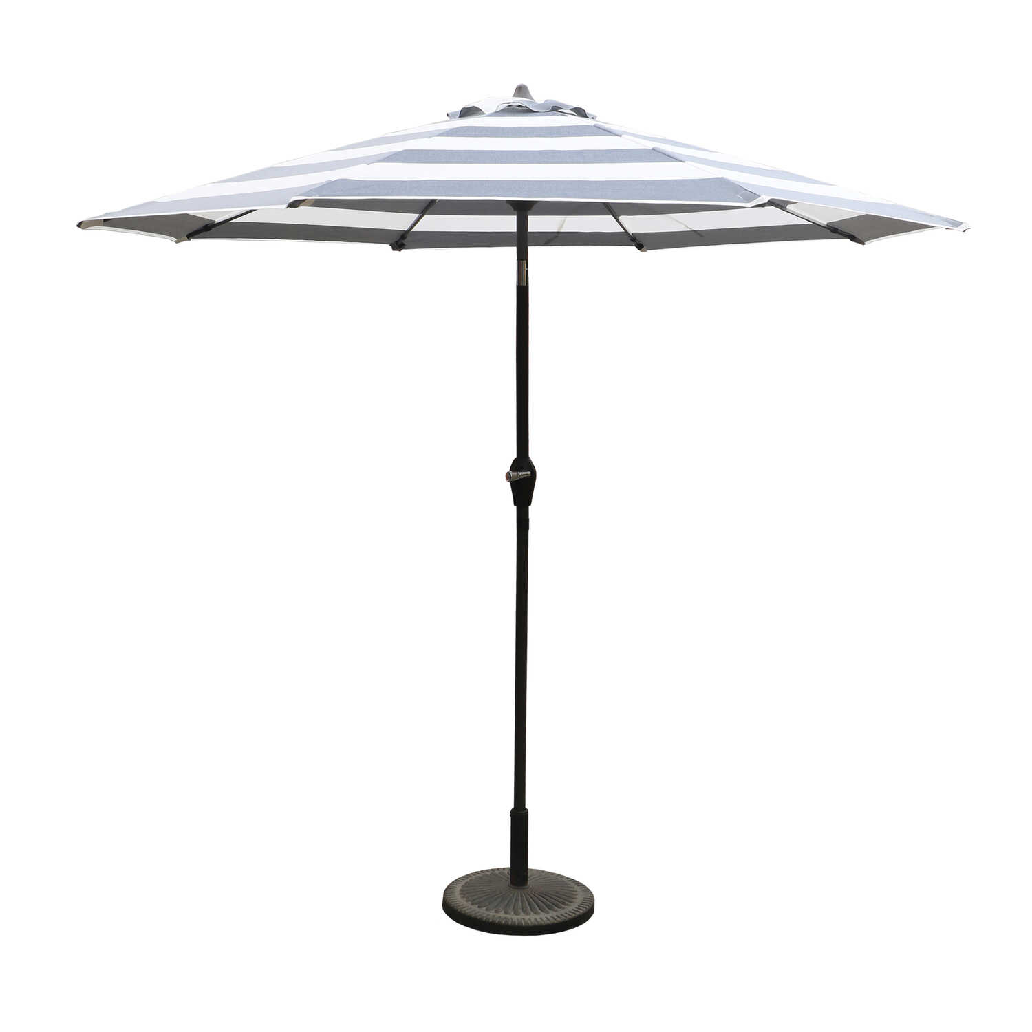 Living Accents  9 ft. Tiltable Navy White Stripe  MARKET  Market Umbrella