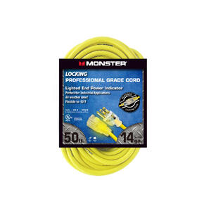 Monster Cable  Outdoor  50 ft. L Yellow  Extension Cord  14/3 SJTW