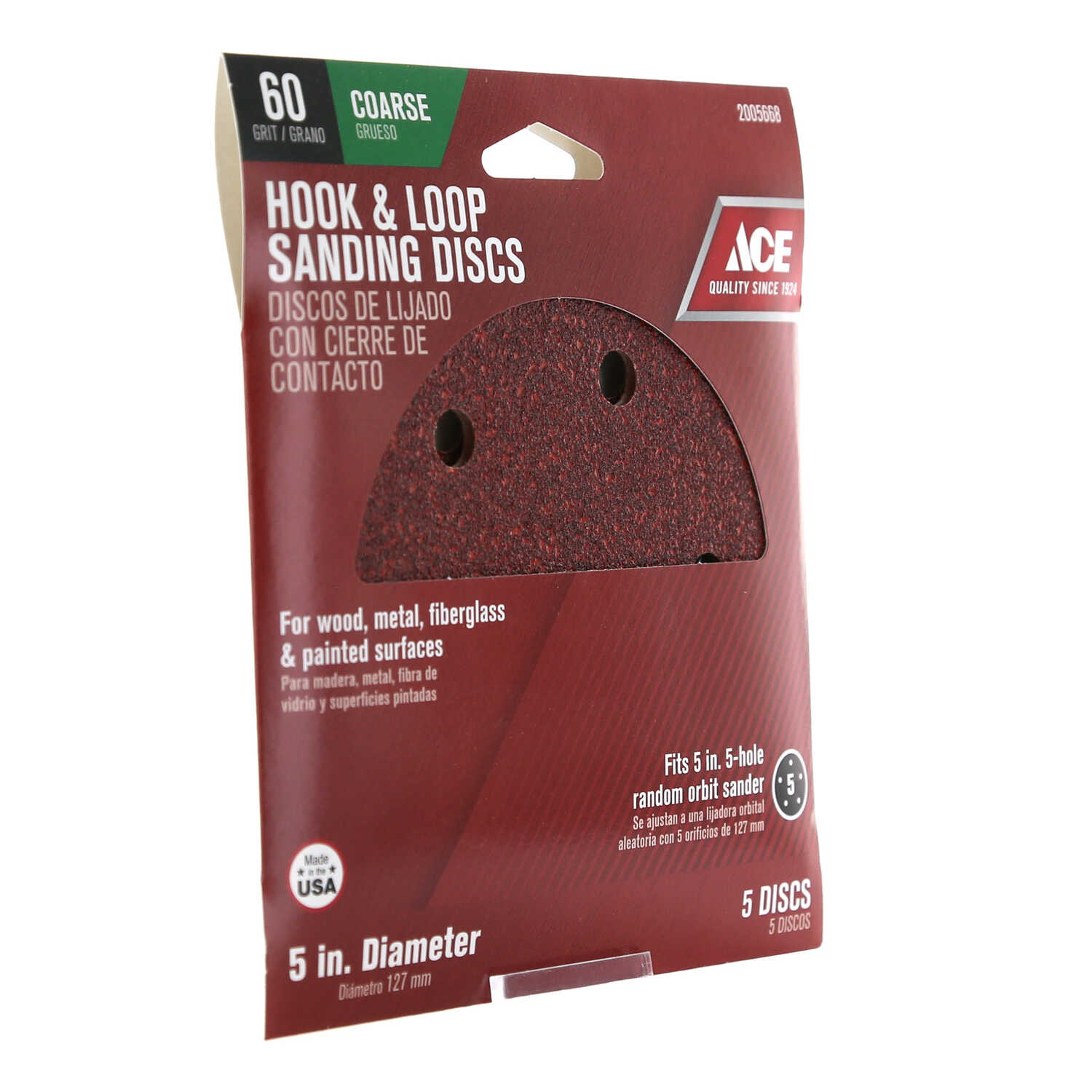 Ace  5 in. Aluminum Oxide  Hook and Loop  Sanding Disc  60 Grit Coarse  5 pk