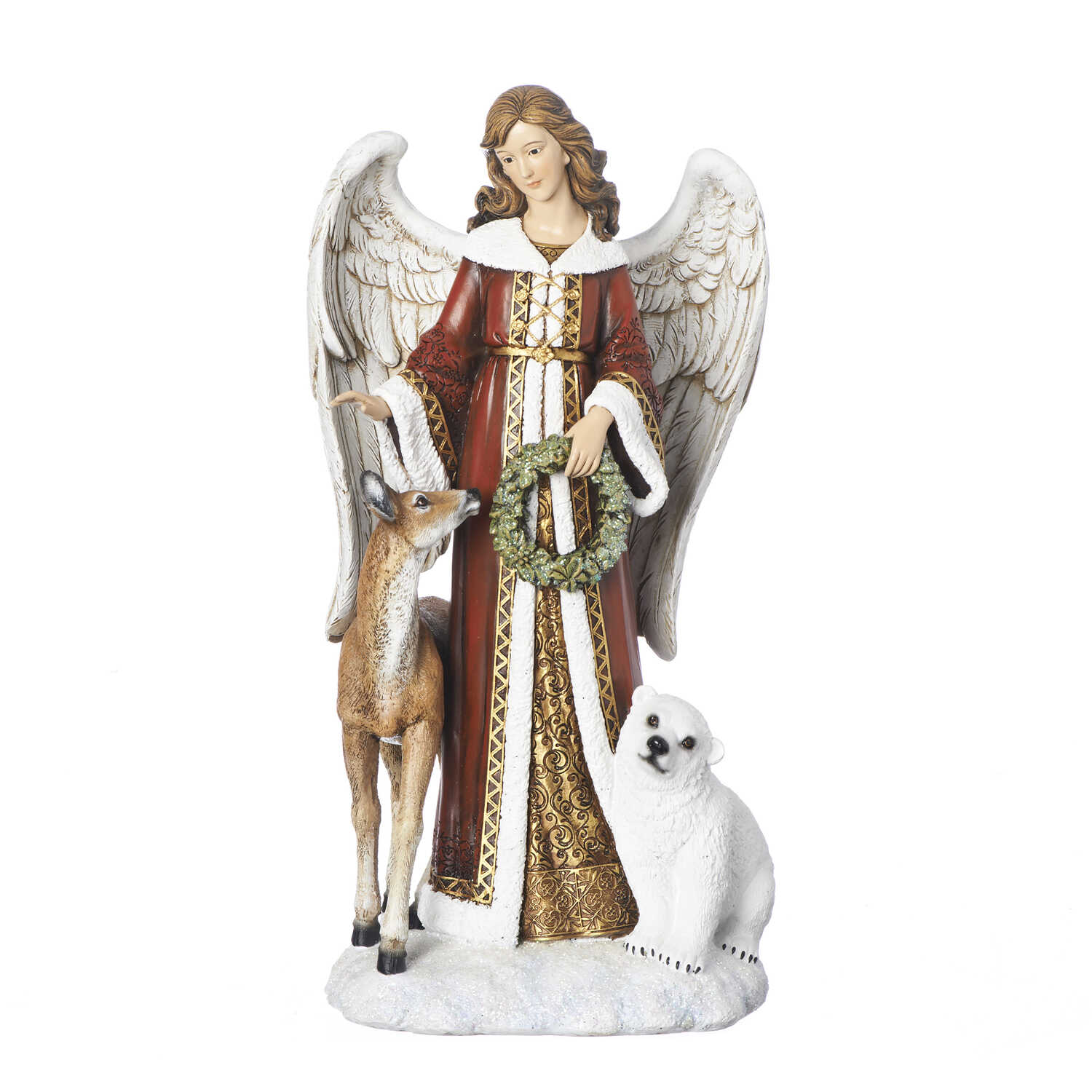 Roman  Angel Figure with Deer And Bear  Christmas Decoration  Red/White  1 pk Resin