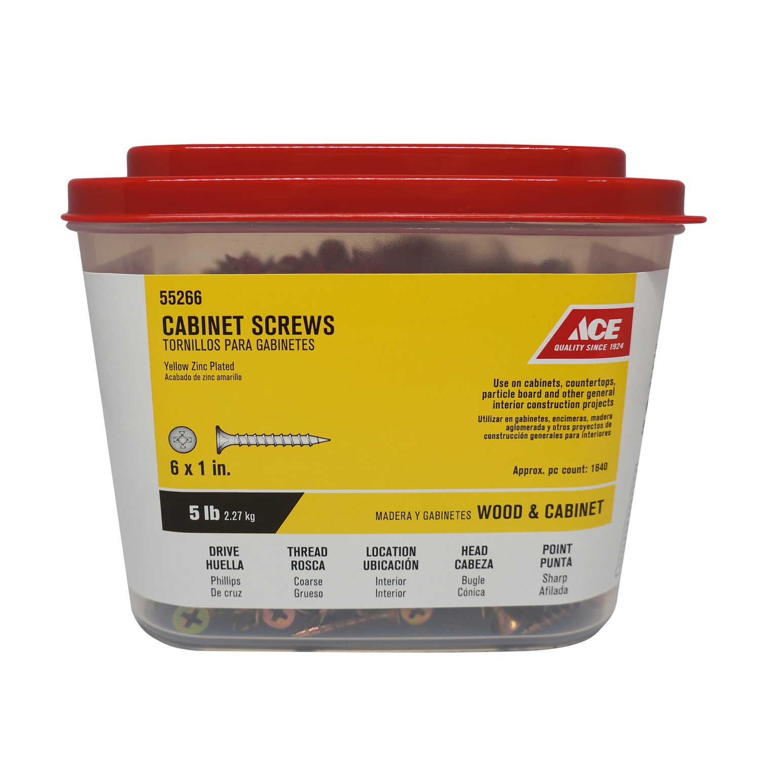 Ace  No. 6   x 1 in. L Phillips  Bugle  Yellow Dichromate  Steel  Cabinet Screws  5 lb. 5 lb.