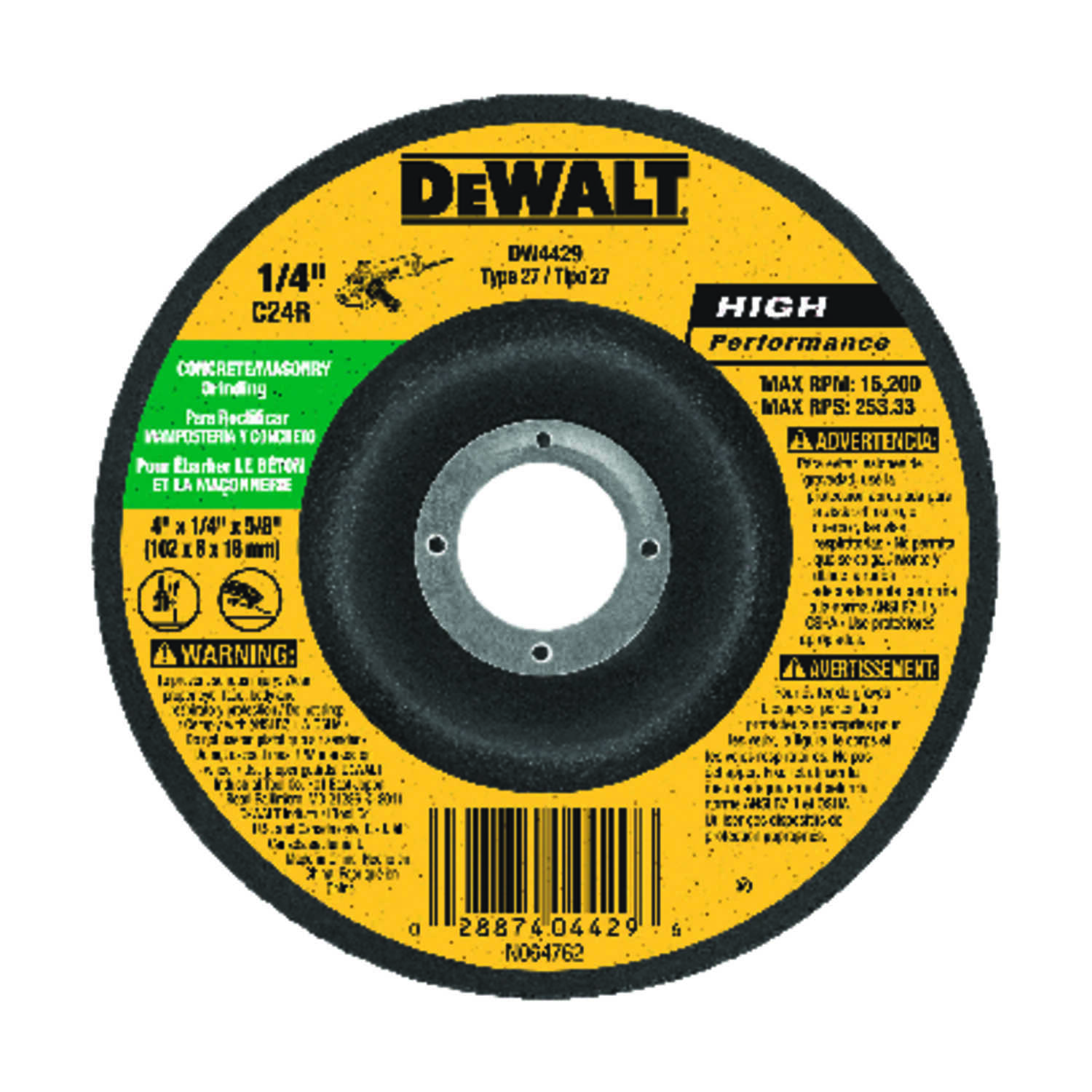 DeWalt  High Performance  4 in. Dia. x 5/8 in.   x 1/4 in. thick  Aluminum Oxide  Masonry Grinding W