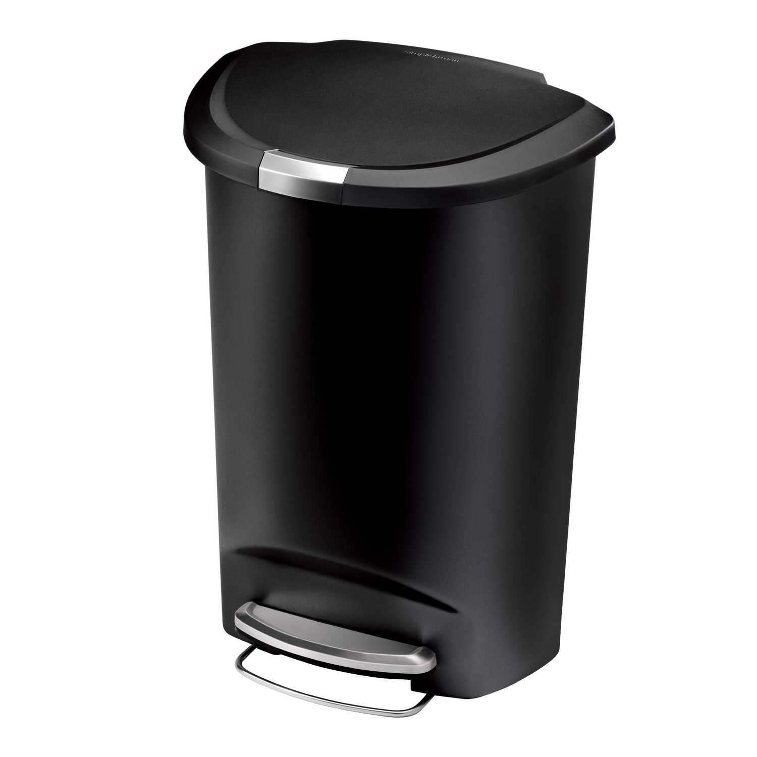 simplehuman  14.5  Black  Semi-Round Step  Wastebasket