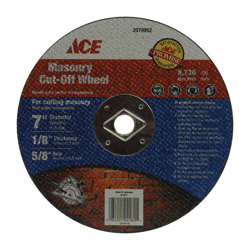 Ace  7 in. Silicon Carbide  Masonry Cut-Off Blade  1/8 in. thick  x 5/8 in.  1 pc.