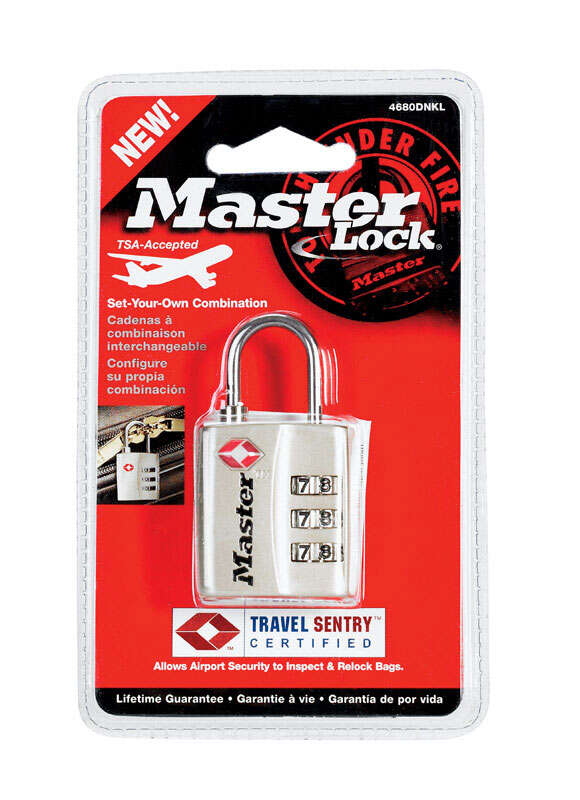 Master Lock  1-5/16 in. H x 3/8 in. W Metal  Luggage Lock  1 each 3-Dial Combination