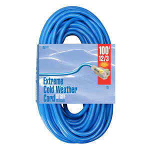 Woods  Indoor and Outdoor  100 ft. L Blue  Extension Cord  12/3