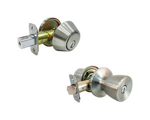 Faultless  Tulip  Satin Stainless Steel  Metal  Entry Knob and Single Cylinder Deadbolt  3  Right Ha