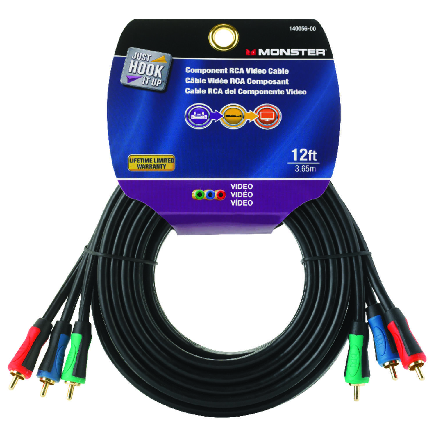 Monster Cable Just Hook It Up 12 ft. L Component Video Cable RCA ...