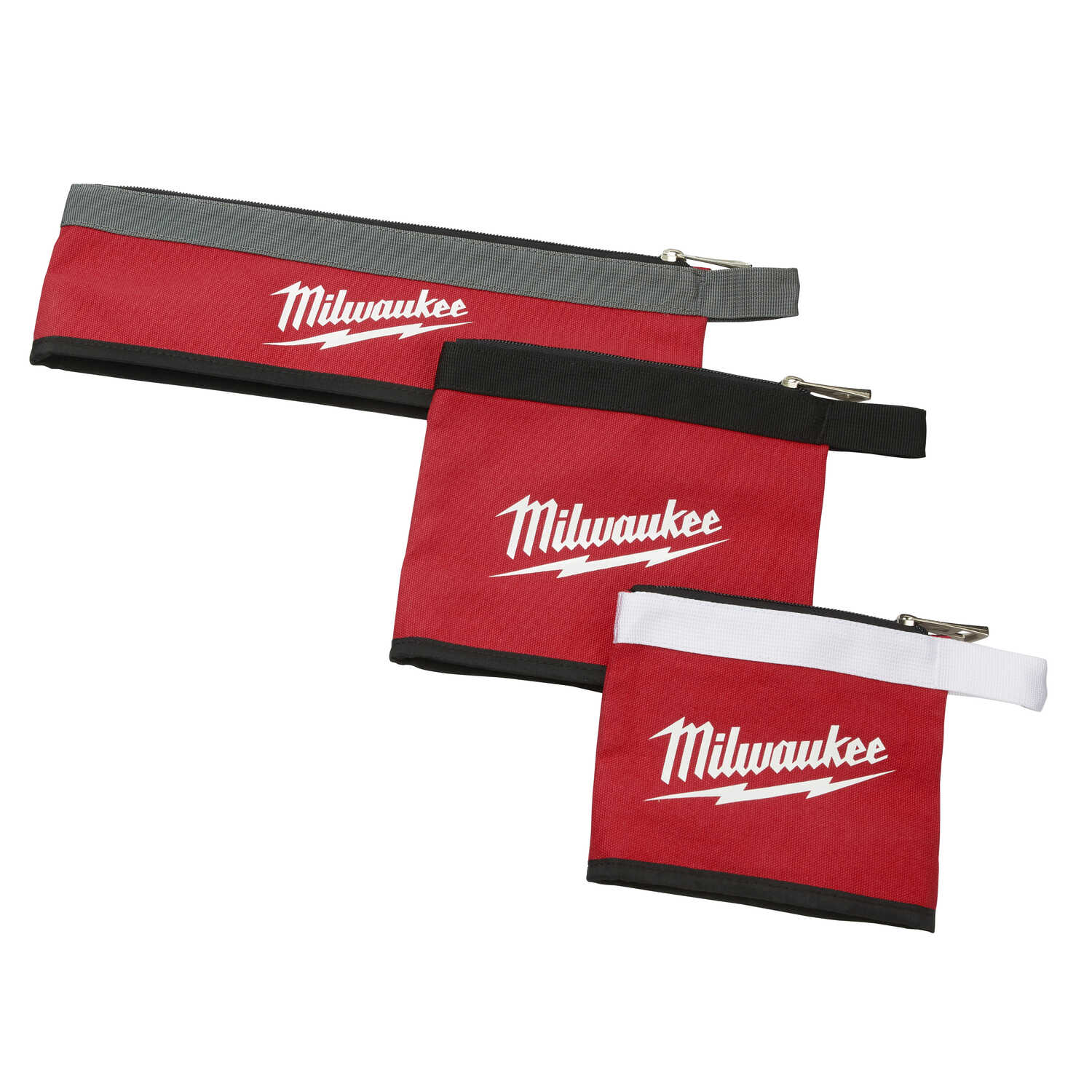 Milwaukee  0.25 in. W x 8 in. H Canvas  Multi-Size  Zippered Bag Assortment  1 pocket Red  3 pc.