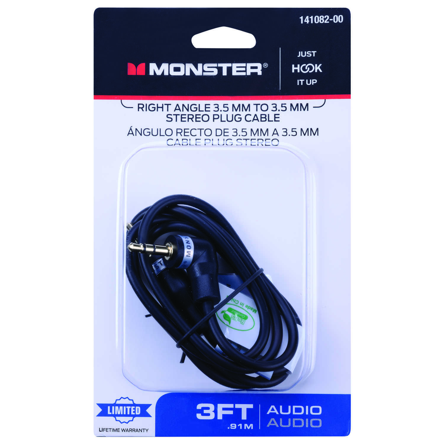 Monster Cable  Just Hook It Up  3 ft. L Stereo Plug Cable  3.5 mm