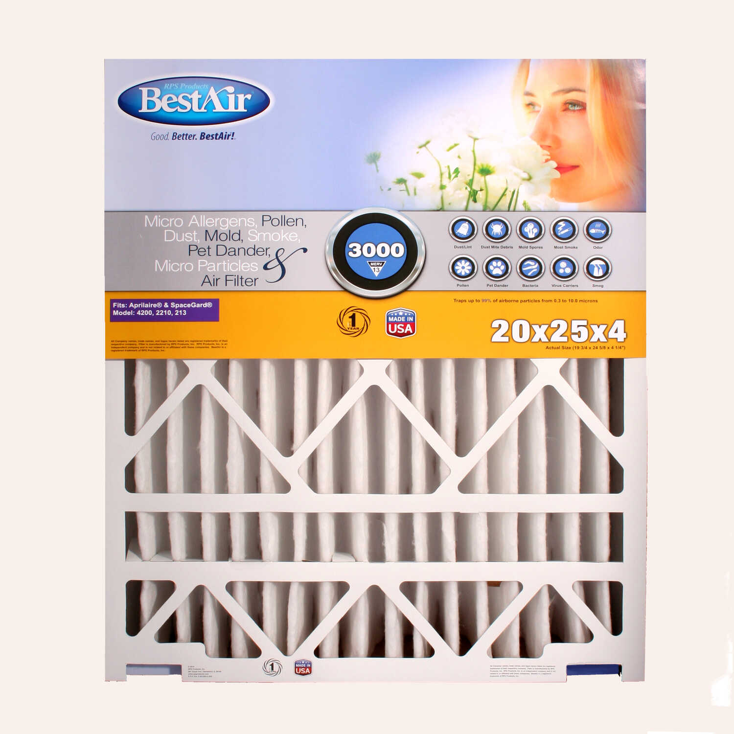 BestAir  25 in. H x 20 in. W x 4 in. D 13 MERV Air Filter