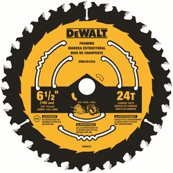 DeWalt  6-1/2 in. Dia. x 5/8 in.  Carbide Tipped  Circular Saw Blade  24 teeth 1 pk