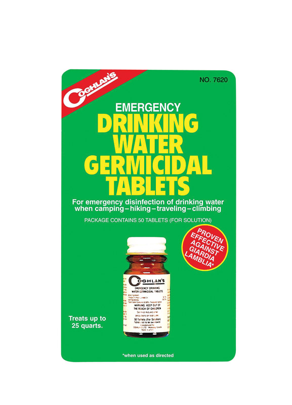Coghlan's  Drinking Water Tablets  5.000 in. H x 3.000 in. W x 1.000 in. L 50 pk