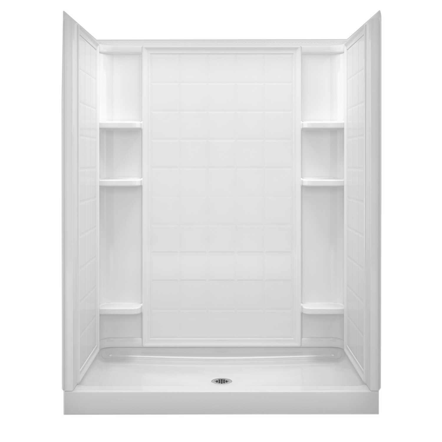 Sterling  Ensemble  4.5 in. H x 34 in. W x 60 in. L White  Shower Base  Plastic composite  Center Dr