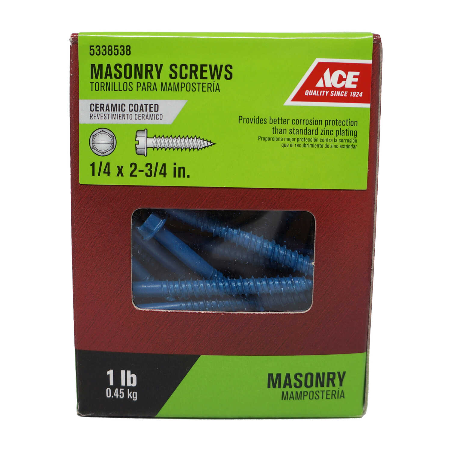 Ace  1/4 in.   x 2-3/4 in. L Slotted  Hex Head Ceramic  Steel  Masonry Screws  40 pk 1 lb.