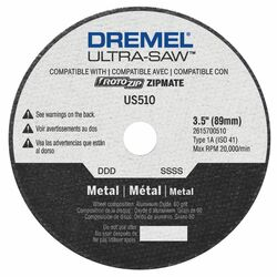 Dremel  Ultra-Saw  3-1/4 in. Dia. x 1/2 in. in.  Aluminum Oxide  Metal Cutting Wheel  1 pc.