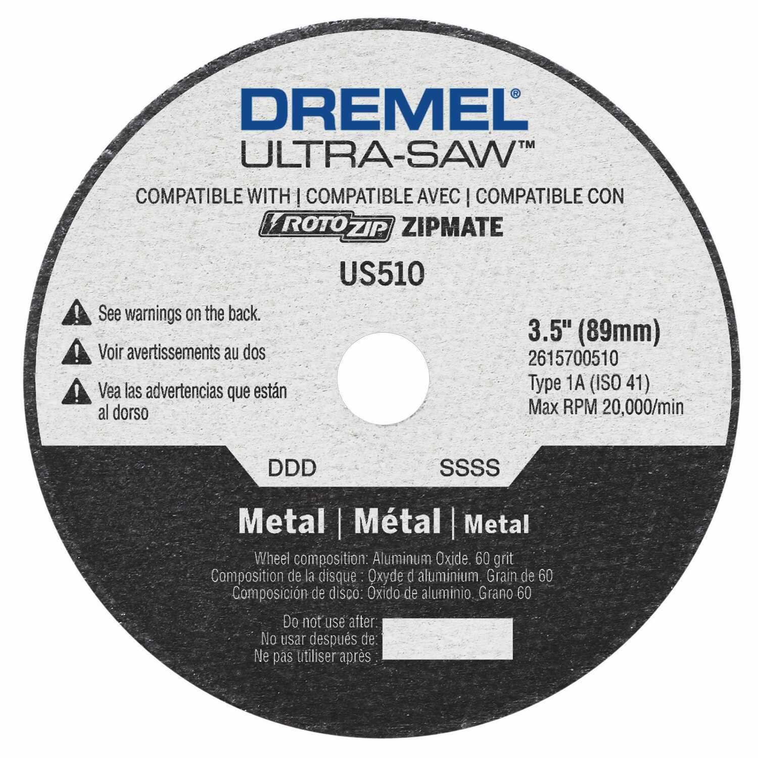 Dremel  Ultra-Saw  3-1/4 in. Aluminum Oxide  Metal Cutting Wheel  .049 in.  x 1/2 in. in.  1 pc.