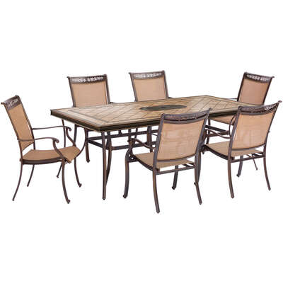Hanover  Fontana  7 pc. Brown  Aluminum  Fontana  Patio Set
