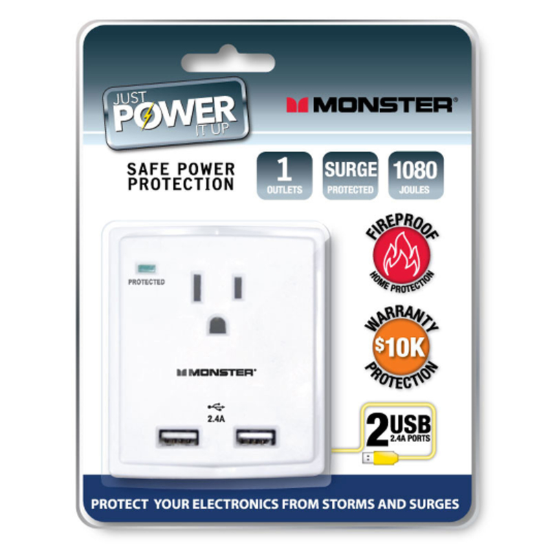 Monster Cable  Just Power It Up  1080 J 1 outlets Surge Tap