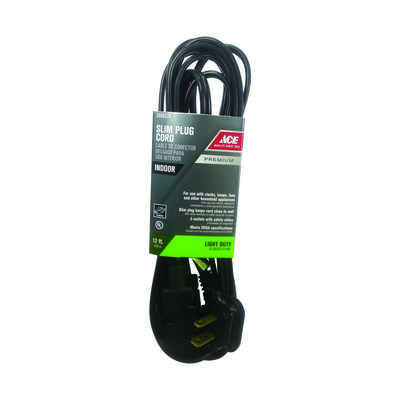 Ace  Indoor  12 ft. L Black  Extension Cord  16/2 SPT-2