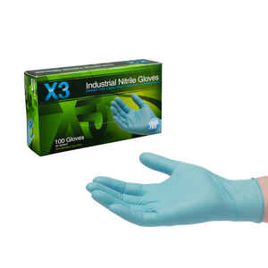 X3  Nitrile  Disposable Gloves  XL  Blue  100 pk