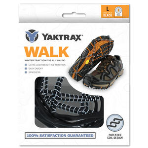 Yaktrax  WALK  Unisex  Poly Elastomer Blend/Steel  Snow and Ice Traction  Black  W 13-15/M 11.5-13.5