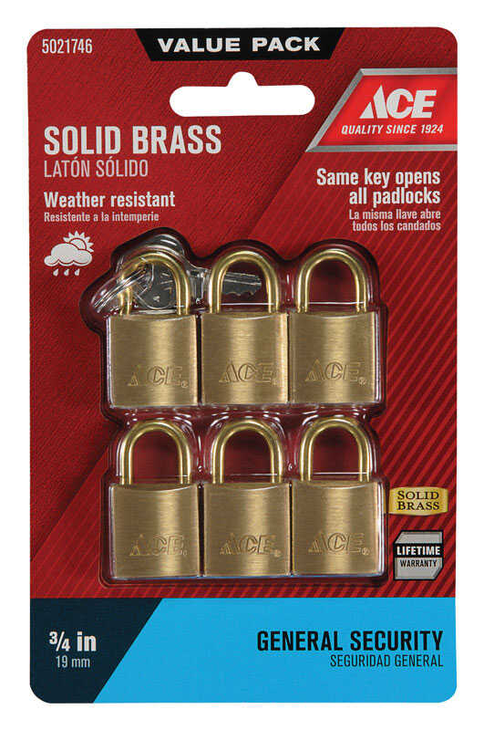 Ace  3/4 in. H x 3/4 in. W x 7/16 in. L Brass  Double Locking  Padlock  6 pk Keyed Alike