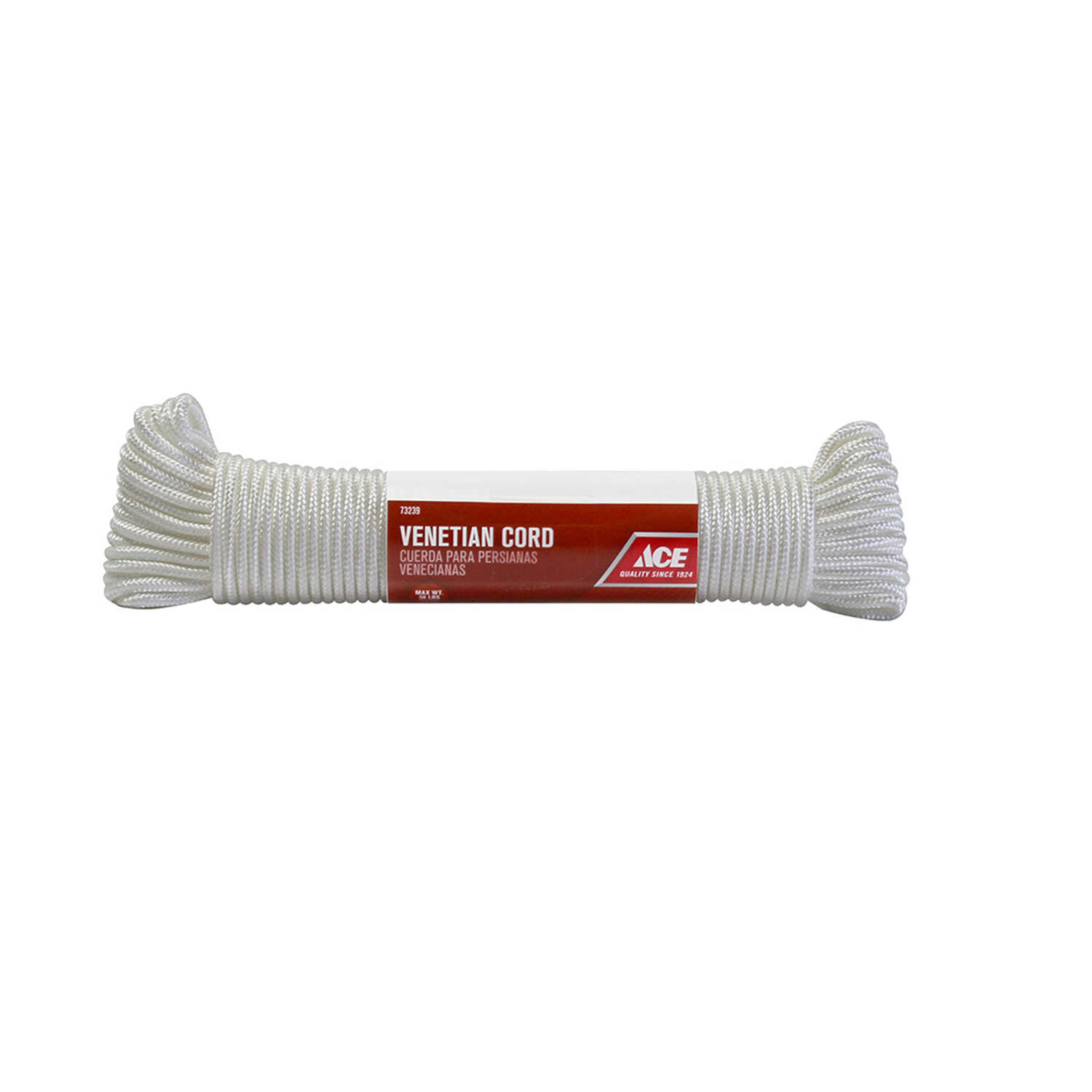 Ace  48 ft. L x 9/64 in. Dia. White  Braided  Nylon  Cord