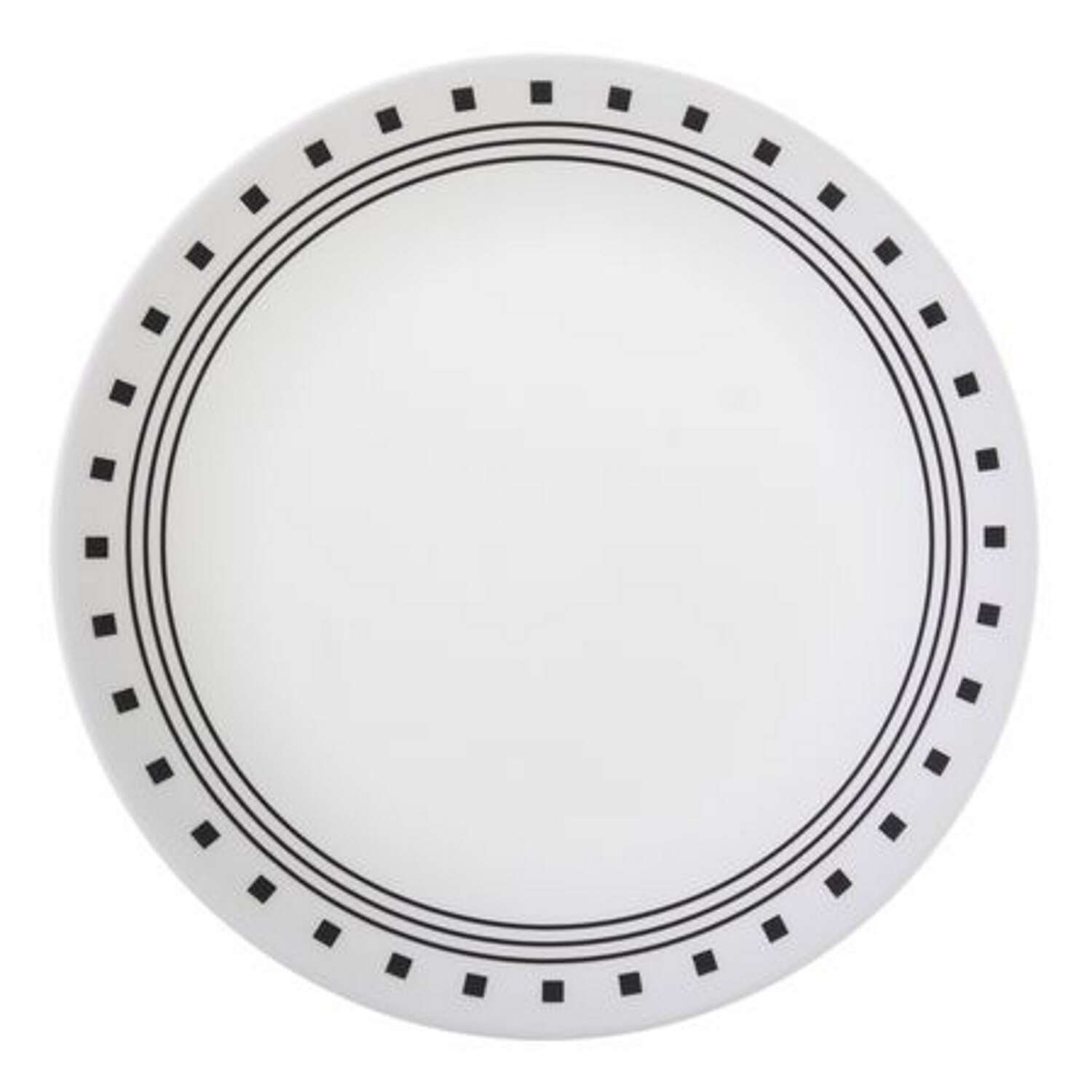 Corelle  Livingware  Black/White  Glass  City Block  Luncheon Plate  8-1/2 in. Dia. 1 pk