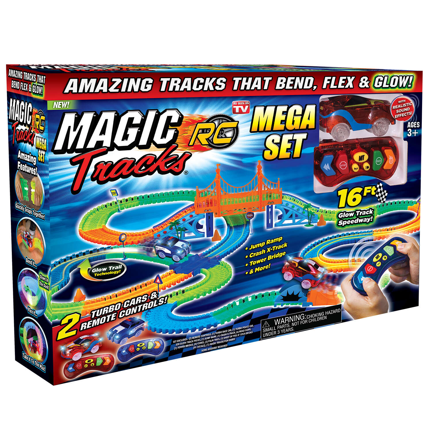 Magic Tracks  As Seen On TV Mega Set  Glow In The Dark Car Race Tracks  Plastic  Multi-Colored  377