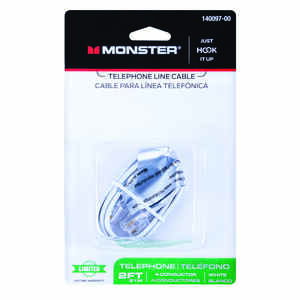 Monster Cable  2 ft. L White  Modular Telephone Line Cable