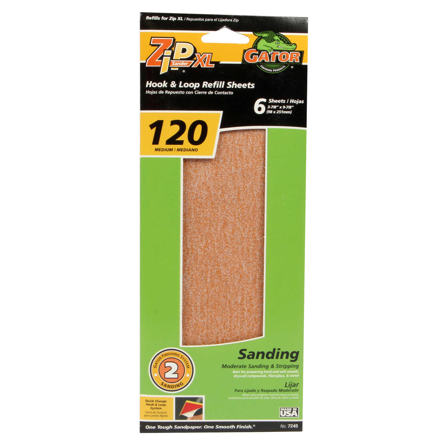 Gator  Zip XL  9-1/2 in. L x 3-1/2 in. W 120 Grit Medium  Aluminum Oxide  Sanding Sheet  6 pk