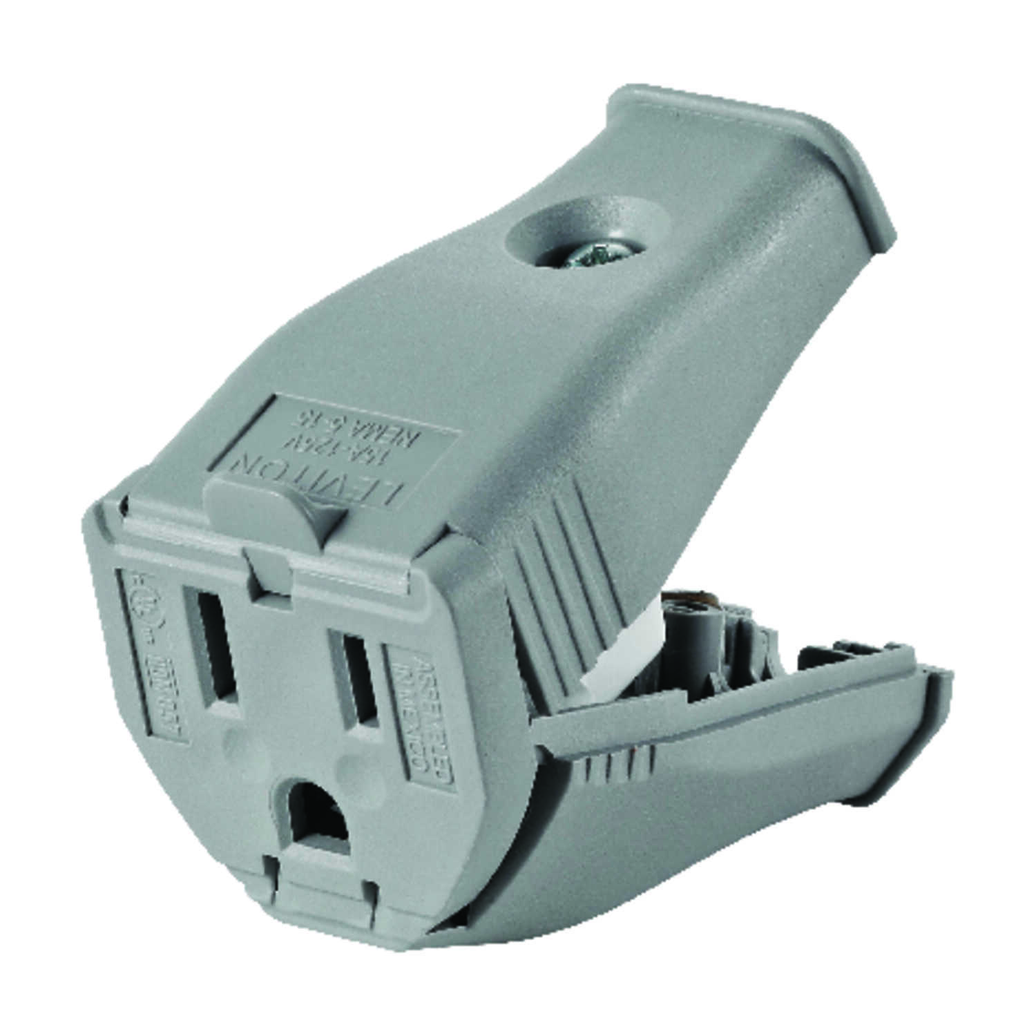 Leviton  Commercial and Residential  Thermoplastic  Straight Blade  Connector  5-15R  2 Pole 3 Wire