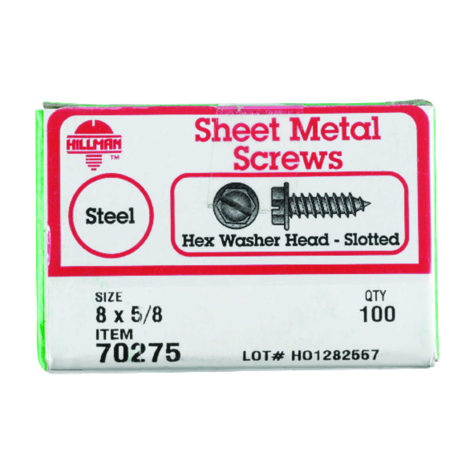 Hillman  8 Sizes  x 5/8 in. L Slotted  Hex Washer Head Zinc-Plated  Steel  Sheet Metal Screws  100 p
