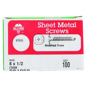HILLMAN  1/2 in. L x 8   Phillips  Truss Head Steel  Self- Drilling Screws  100 per box Zinc-Plated