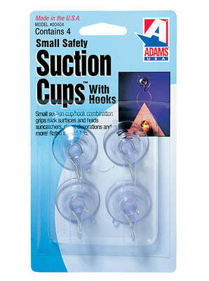Adams  1.38 in. W x 0.68 in. L Clear  Plastic  Suction Cup with Hooks