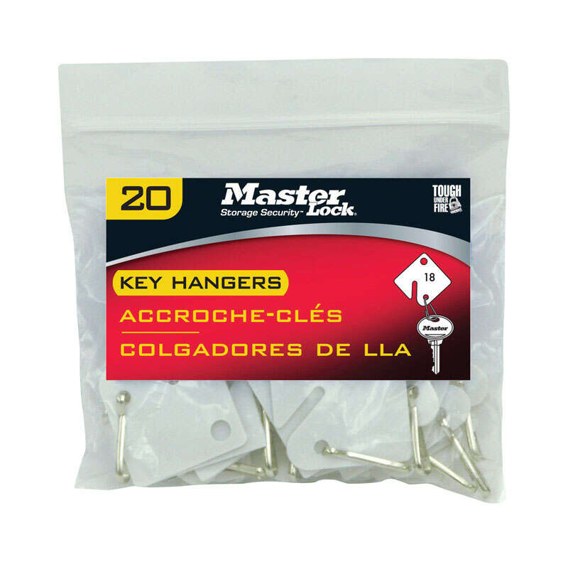 Master Lock  Plastic  White  Rectangle  Key Tag