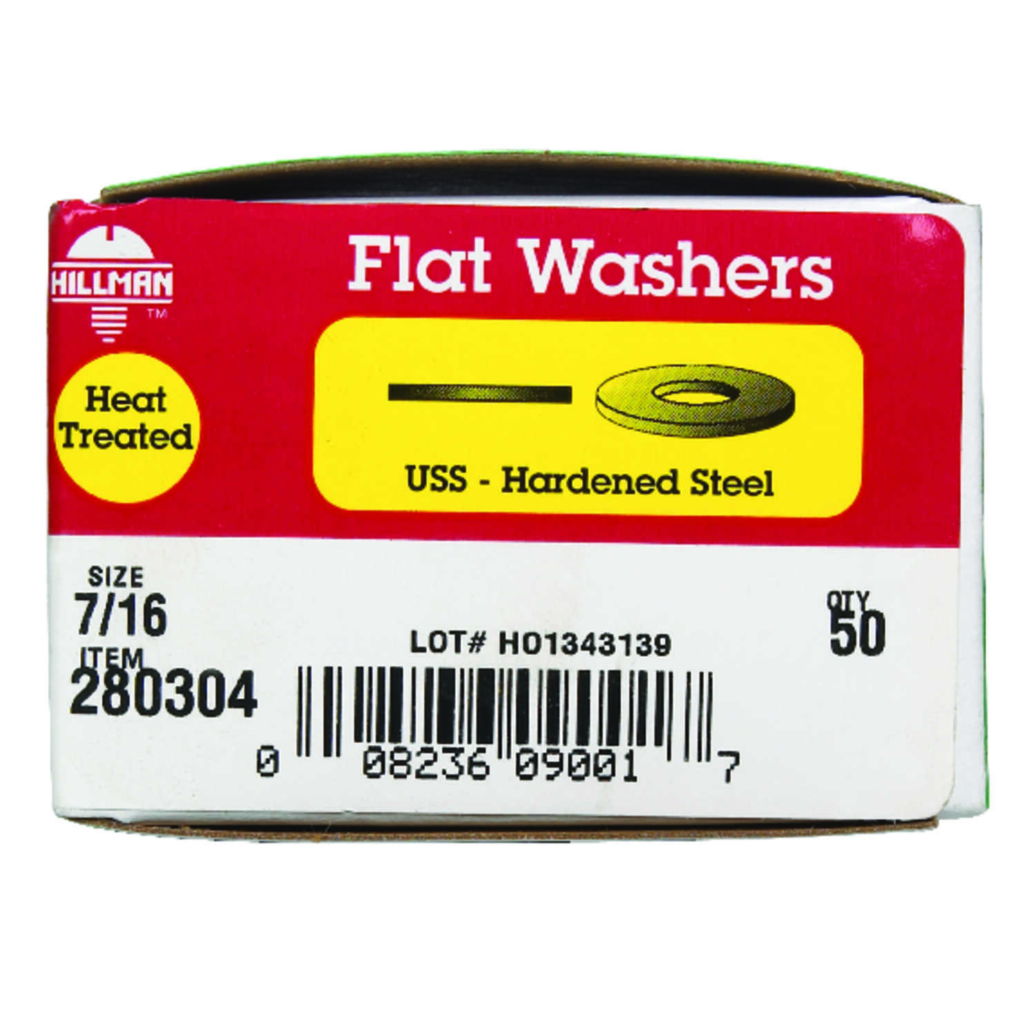 Hillman  Yellow Dichromate  Steel  7/16 in. USS Flat Washer  50 pk